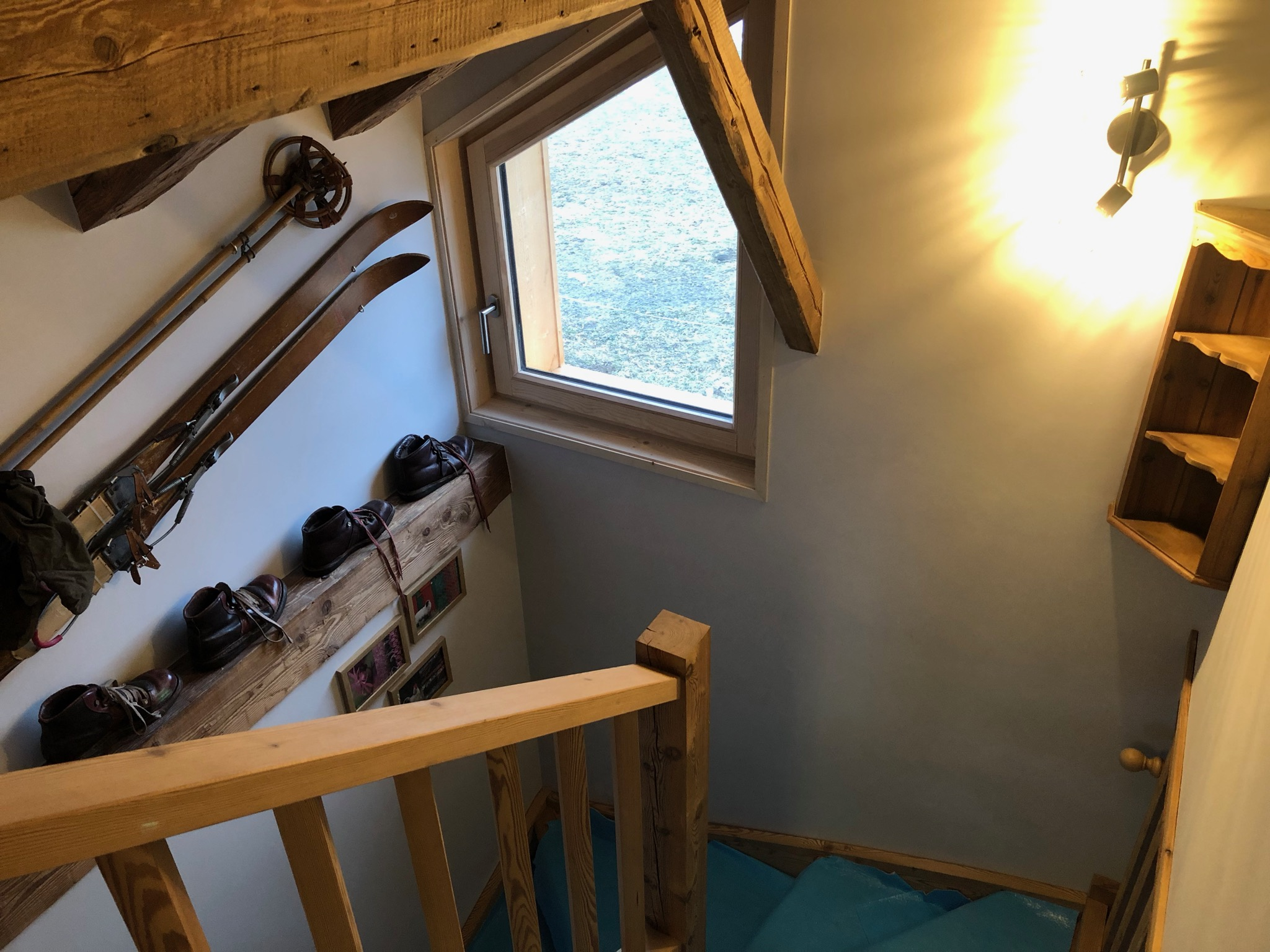 Open Wooden Stairs with Vintage Skis